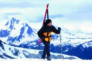 ' title='Cross-Country Skier on Mountain' height=